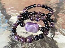 Black Onyx & Amethyst 8mm Wrist Mala Beads Healing Bracelet - Set of 3 Bracelets