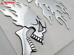 Pair Motorcycle Skull Head Flame Fuel Gas Tank Fairing 3D Emblem Badge Decal L/R