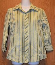 Womens Pretty Green Striped Old Navy 3/4 Sleeve Shirt Size Medium excellent