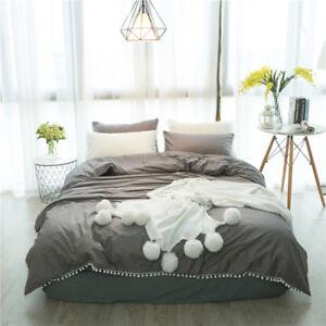 Full Size,Grey, Pom Pom Bedding, Duvet Cover for Apartment, Home
