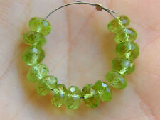 AA Natural Green Peridot Faceted Rondelle Semi Precious Gemstone Beads 5mm.