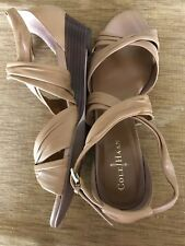 New COLE HAAN Nike Air Women's HONEY BEIGE Leather Wedge SANDALS - Size 10B