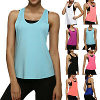 Womens Sleeveless Sports Fitness Vest Exercise Gym Yoga Tank Singlet Loose Tops
