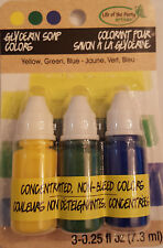 Glycerin Soap Colors Yellow, Blue, Green Non Bleed - .25 oz. 3 Pack