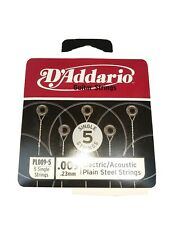 D'Addario Plain Steel Singles Electric or Acoustic Guitar; 5-pack gauge .009 D1