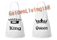 Couples Matching Cute Aprons His and Hers King and Queen Restaurant Bib Apron