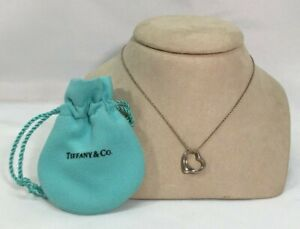 Authentic Tiffany & Co Elsa Peretti Sterling Silver Open Heart Necklace 16""