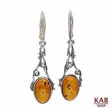 COGNAC BALTIC AMBER STERLING SILVER 925 JEWELLERY EARRINGS. KAB-154