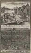 KAMTSCHATKA Häuser Behausungen schöne Darstellung Original-Kupferstich 1767