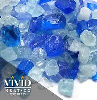 "VIVID BAHAMA BLUE 1/2 - 3/4"" Large Fireplace & Fire Pit Fireglass Glass Crystals"