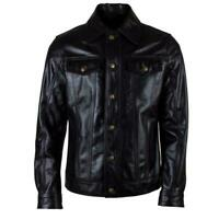 MENS REAL LEATHER POLICE UNIFORM MILITARY STYLE SHIRT BLUF GAY FULL SLEEVES