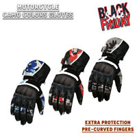 New Cowhide Motorbike Gloves Cruiser Leather Motorcycle Soft Armour Camo Gloves