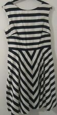 BODEN Christmas Cotton Dress Size UK12R Black White Stripe Zipped Midi Length