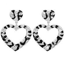 Micro Pave Black White Silver HEART Zebra Crystal Cz Hoop Dangle Drop Earrings