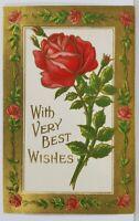 Embossed Gilded Roses Birthday Greetings c1910 to Stroudsburg Pa Postcard M14