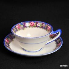 Star Paragon Cup Saucer 1921-1933 Pink Roses Geometric Art Deco Blue Handle Trim
