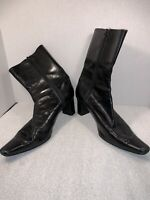 Women's Boots - Nine West | Size: 8 1/2 M | Black Leather With Heels - Medium