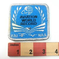 Vtg As-Is-Light-Stain FAI-NAA AVIATION WORLD RECORD Airplane Patch 91C3