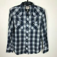 Mens Levis Western Wear Shirt Size M Pearl Snap Blue White Long Sleeve Cotton