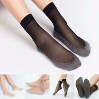 10pair Women Girl Thick Crystal Lace Glass Socks Transparent Silk Non-slip X3U3