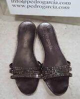 Pedro Garcia crystal flat sandals metallic black size 41 us 10