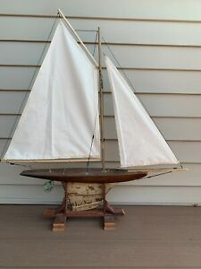 "Vintage Wooden Toy Pond Yacht Sailboat Ship Nautical 31"" Tall, Stand Included"
