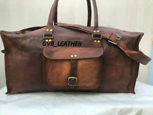 Mens Real All Stuff Cloths Leather Duffel Air luggage Holdall Weekend Travel Bag