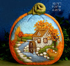 Ceramic Bisque Ready to Paint Small Pumpkin Fall Mill Scene electric included