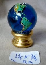 "Lamp finial World Globe blue glass ball  7/8"" dia (priced per each)  W/ adapter"