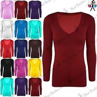 Womens Plain Jersey V Neck T Shirt Ladies Basic Long Sleeve Stretchy Top UK 8-14
