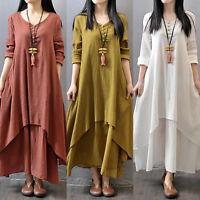 Vintage Women's Boho Long Sleeve Cotton Linen Kaftan Maxi Plus Size Dress Summer
