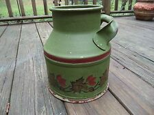 "Vintage Hand Painted Metal Milk Jug Can Vine Leaves Green 9"" tall"