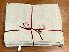 More details for 2 large vintage french hemp tea towels, red cross stitch initials 1 unused .