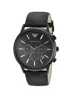 New Emporio Armani Sportivo Black Chronograph Dial AR2461 Leather Men's Watch