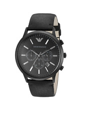New Emporio Armani Sportivo Black Chronograph Dial AR2461 Leather Men's Watch