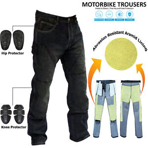 Mens Black Motorcycle Motorbike Jeans Trouser Reinforced With Protective Lining