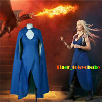 US! Game of Thrones Costume Daenerys Targaryen Dress Women Cloak Cosplay Beauty