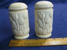 Off White Embossed Tulip Flower Column Salt and Pepper Shakers Ceramic        94