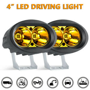 "2X 4"" 20W Yellow LED Work Light Bar Spot Pods Offroad Fog Lamp UTV ATV Truck SUV"