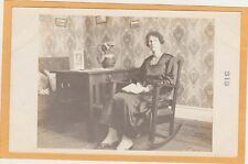 Real Photo Postcard RPPC - Woman and Arts and Crafts Rocking Chair and Desk