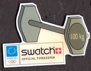 ATHENS 2004. OLYMPIC GAMES SPONSOR PIN. SWATCH. WEIGHTLIFTING
