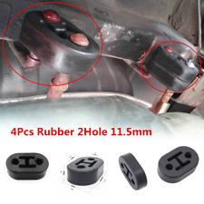 Universal 4Pcs 2 Hole Car Exhaust Muffler Hangers Brackets Rubber 11.5MM Black
