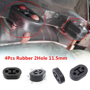 Universal 4Pcs 2 Hole Car Exhaust Muffler Hangers Brackets Rubber 11.5MM Black