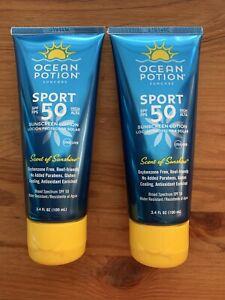 2 X Ocean Potion SPF 50 Sport Sunscreen Lotion Scent Of Sunshine 3.4 Fl Oz Each