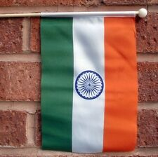 "INDIA HAND WAVING FLAG medium 9"" X 6"" wooden pole flags INDIAN DELHI BOMBAY GOA"