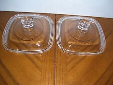 2 Petite Replacement Glass Lids fit Corning Ware Pyrex P-41 P-43 Petite Dishes