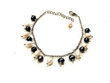 Bijou bracelet perles d'eau douce alliage argenté bangle