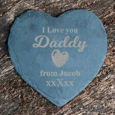 Personalised I Love you Daddy Heart Slate Drink Coaster Engraved Fathers Gift