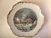 Vintage Currier and Ives The Farmer's Home Country Winter Collector Plate 8""