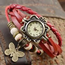 Rosso Pelle Intrecciato Donne Ragazze Farfalla Retro Braccialetto Watch & FREE BATTERIA